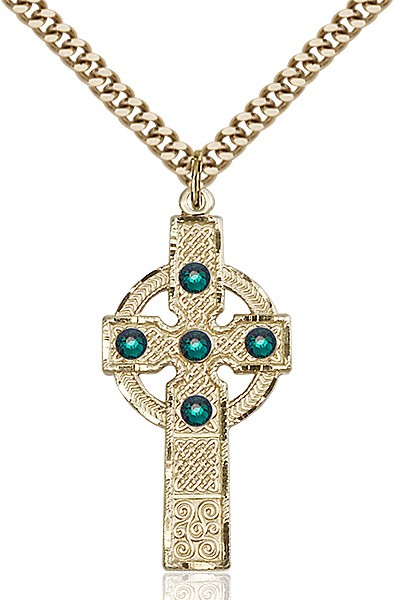 Tall Celtic Cross Pendant with Birthstone Options - 14KT Gold Filled