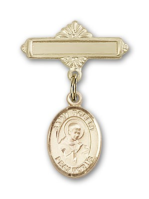 Pin Badge with St. Robert Bellarmine Charm and Polished Engravable Badge Pin - 14K Yellow Gold