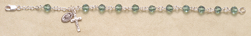 Rosary Bracelet - Sterling Silver with Erinite Swarovski Beads - Blue