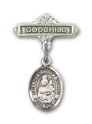 Baby Badge with Our Lady of Prompt Succor Charm and Godchild Badge Pin - Silver tone