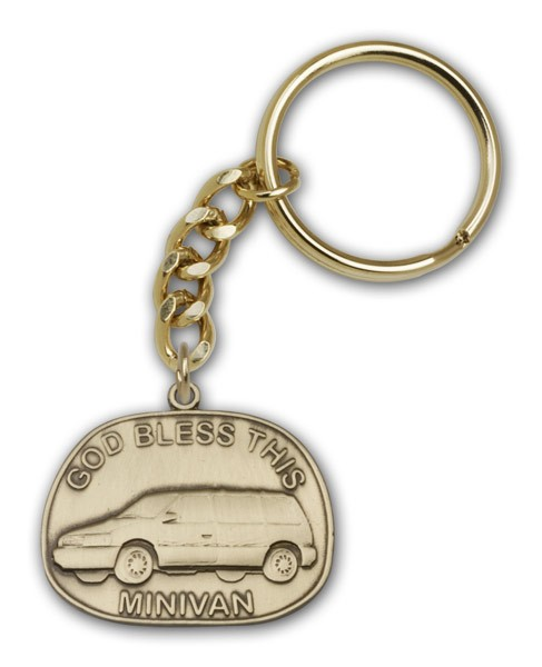 God Bless This Mini-Van Keychain - Antique Gold