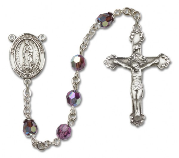 Our Lady of Guadalupe Sterling Silver Heirloom Rosary Fancy Crucifix - Amethyst