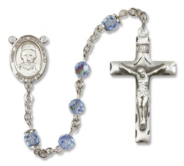 St. Joseph Freinademetz Sterling Silver Heirloom Rosary Squared Crucifix - Light Sapphire