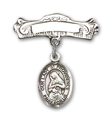 Pin Badge with Our Lady of Providence Charm and Arched Polished Engravable Badge Pin - Silver tone