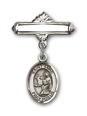 Pin Badge with St. Luke the Apostle Charm and Polished Engravable Badge Pin - Silver tone