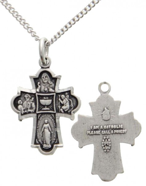 First Communion 4 Way Cross Pendant - Silver