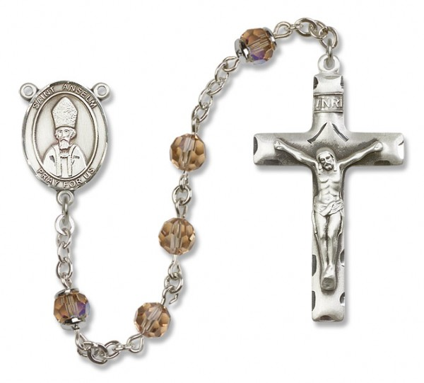 St. Anselm of Canterbury Sterling Silver Heirloom Rosary Squared Crucifixe - Topaz