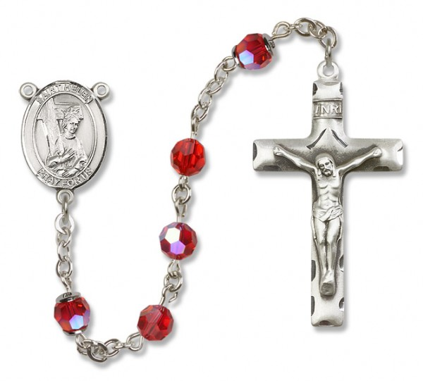 St. Helen Sterling Silver Heirloom Rosary Squared Crucifix - Ruby Red