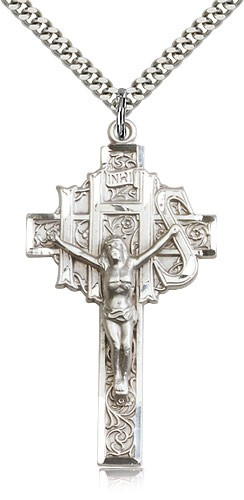 Men's Large IHS Crucifix Pendant - Sterling Silver