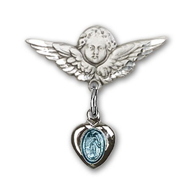 Baby Pin with Blue Miraculous Charm and Angel with Smaller Wings Badge Pin - Silver | Blue