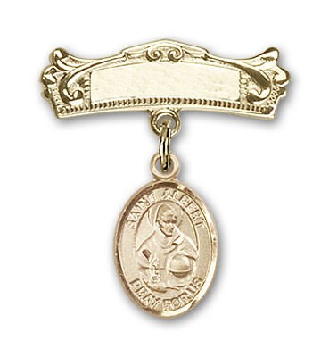 Pin Badge with St. Albert the Great Charm and Arched Polished Engravable Badge Pin - 14K Yellow Gold