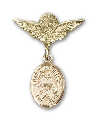 Pin Badge with St. Julie Billiart Charm and Angel with Smaller Wings Badge Pin - 14K Yellow Gold