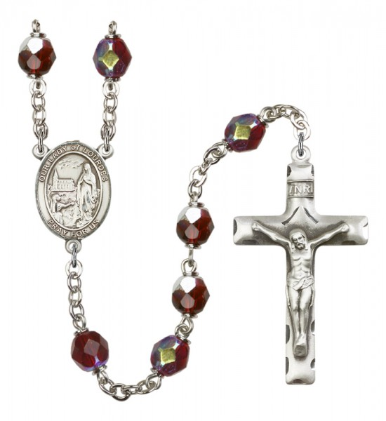 Men's Our Lady of Lourdes Silver Plated Rosary - Garnet