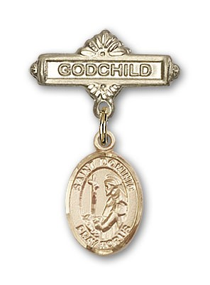 Pin Badge with St. Dominic de Guzman Charm and Godchild Badge Pin - 14K Solid Gold