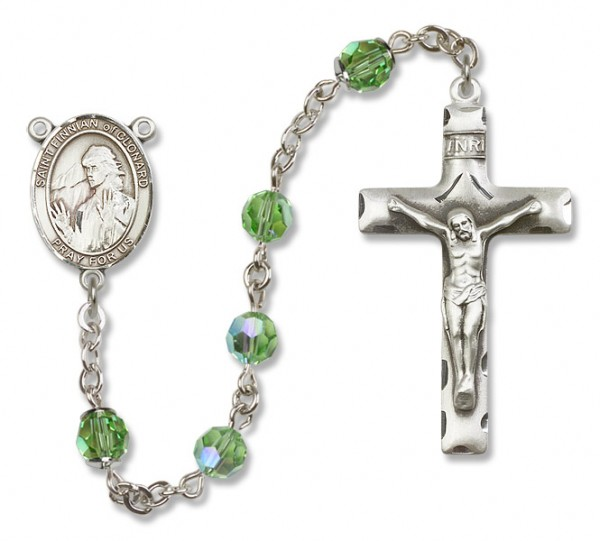 St. Finnian of Clonard Sterling Silver Heirloom Rosary Squared Crucifix - Peridot
