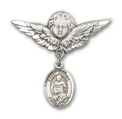 Pin Badge with St. Daniel Charm and Angel with Larger Wings Badge Pin - Silver tone