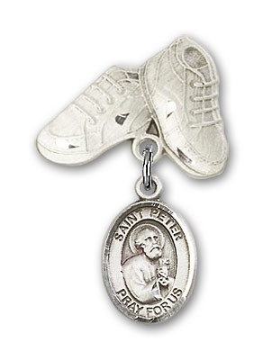 Pin Badge with St. Peter the Apostle Charm and Baby Boots Pin - Silver tone