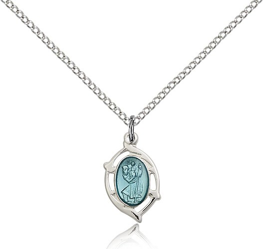Open-Cut Oval with Blue Enamel Women's St. Christopher Necklace - Sterling Silver