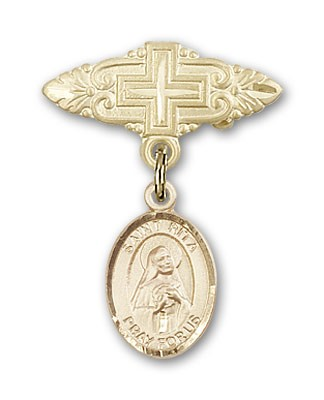 Pin Badge with St. Rita of Cascia Charm and Badge Pin with Cross - Gold Tone