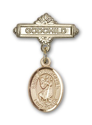 Pin Badge with St. Christopher Charm and Godchild Badge Pin - Gold Tone