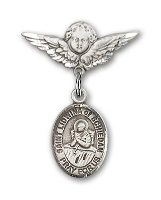 Pin Badge with St. Lidwina of Schiedam Charm and Angel with Smaller Wings Badge Pin - Silver tone