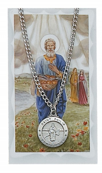 Round St. Philip Medal with Prayer Card - Silver tone