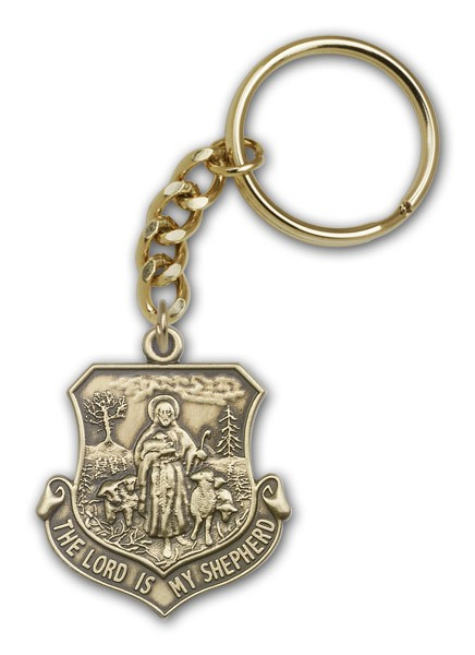Lord Is My Shepherd Keychain - Antique Gold
