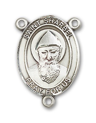 St. Sharbel Rosary Centerpiece Sterling Silver or Pewter - Sterling Silver