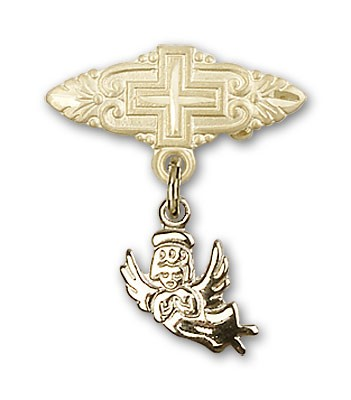 Baby Pin with Guardian Angel Charm and Badge Pin with Cross - 14K Solid Gold