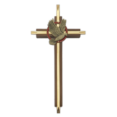 Confirmation Cross Walnut & Brass 7 inch - Brown