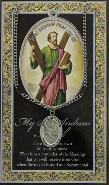 St. Andrew Medal in Pewter with Bi-Fold Prayer Card - Silver tone