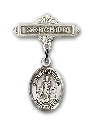 Pin Badge with St. Cornelius Charm and Godchild Badge Pin - Silver tone