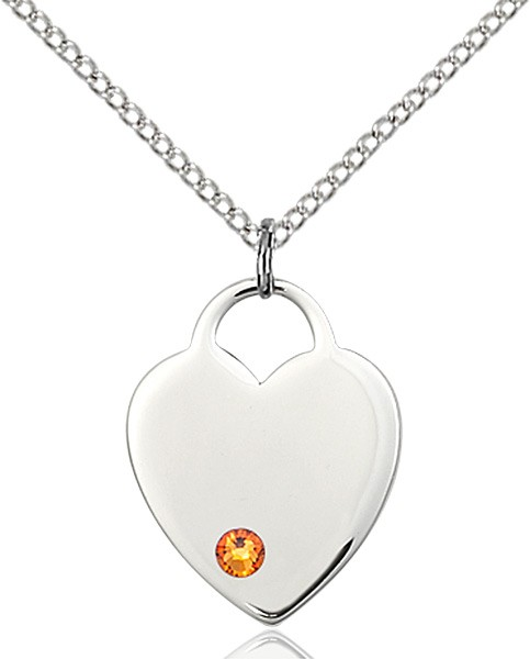 Medium Heart Shaped Pendant with Birthstone Options - Topaz