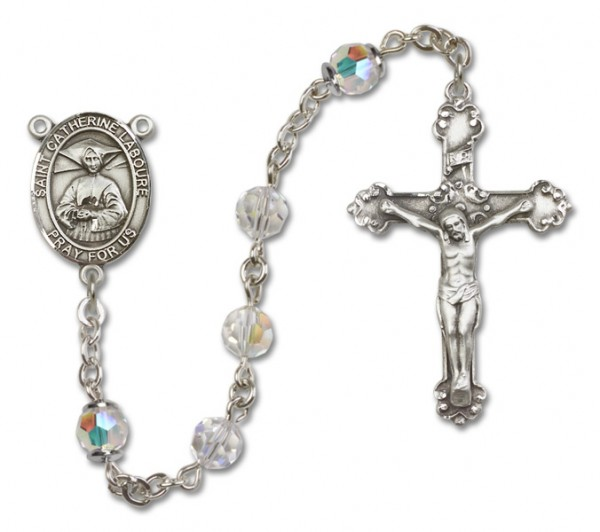 St. Catherine Laboure Sterling Silver Heirloom Rosary Fancy Crucifix - Crystal