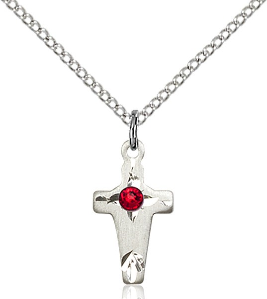 Square Edge Child's Cross Pendant with Birthstone Options - Ruby Red