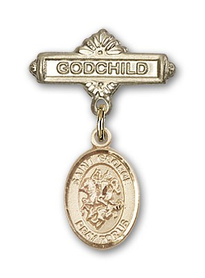 Pin Badge with St. George Charm and Godchild Badge Pin - 14K Yellow Gold