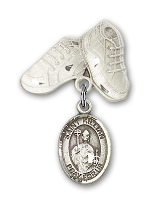Pin Badge with St. Kilian Charm and Baby Boots Pin - Silver tone