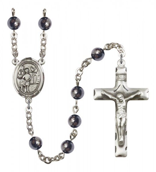 Men's St. Vitus Silver Plated Rosary - Gray