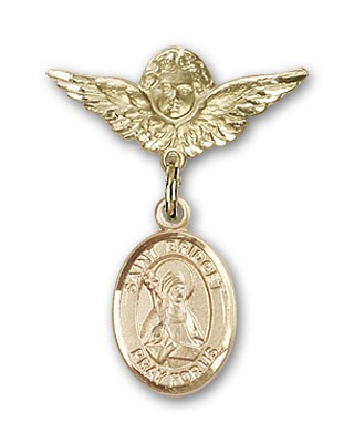 Pin Badge with St. Bridget of Sweden Charm and Angel with Smaller Wings Badge Pin - 14K Yellow Gold