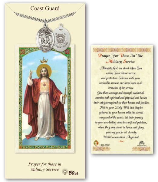 St. Michael the Archangel Coast Guard Medal in Pewter with Prayer Card - Silver tone