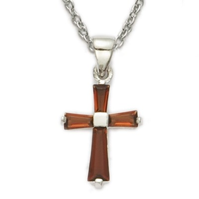 Youth Birthstone Baguette Cross Necklace - Garnet