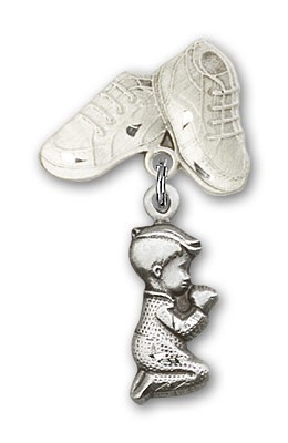 Baby Pin with Praying Boy Charm and Baby Boots Pin - Silver tone