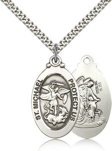 Oval Double-sided St. Michael Guardian Medal - Sterling Silver