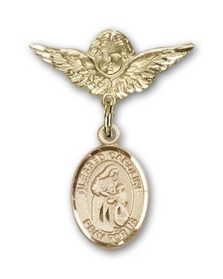 Pin Badge with Blessed Caroline Gerhardinger Charm and Angel with Smaller Wings Badge Pin - Gold Tone