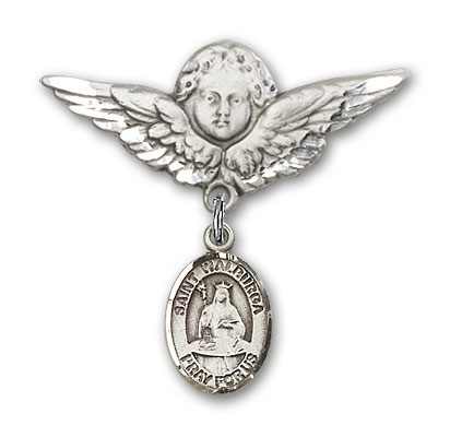 Pin Badge with St. Walburga Charm and Angel with Larger Wings Badge Pin - Silver tone