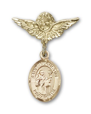 Pin Badge with St. Augustine Charm and Angel with Smaller Wings Badge Pin - 14K Solid Gold