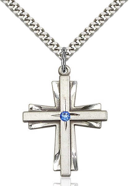 Large Women's Cross on Cross Pendant with Birthstone Options - Sapphire