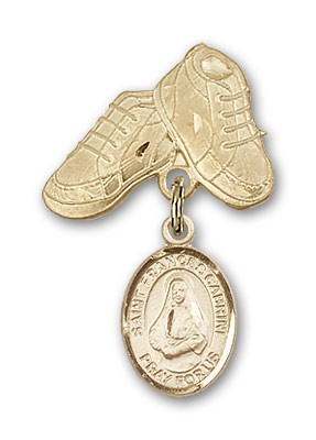Pin Badge with St. Frances Cabrini Charm and Baby Boots Pin - Gold Tone