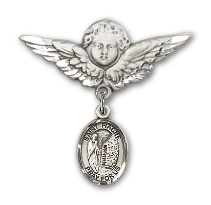 Pin Badge with St. Fiacre Charm and Angel with Larger Wings Badge Pin - Silver tone