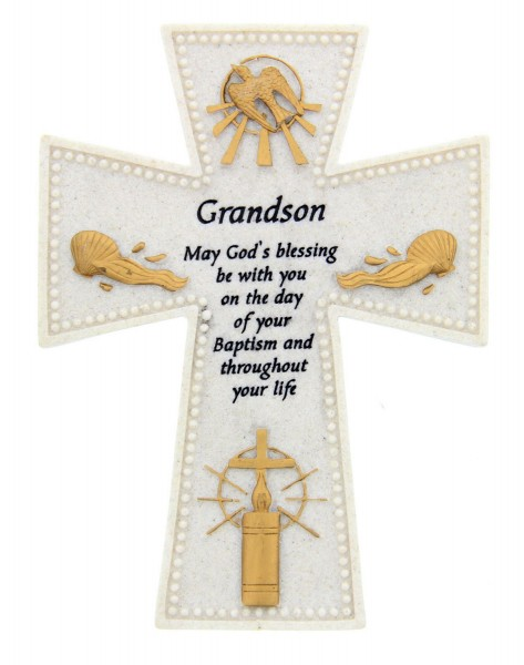 Grandson Baptism Wall Cross - 6 inch - Stone